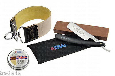 BARBER STRAIGHT CUT THROAT SHAVING RAZOR LEATHER STROP PASTE & SHARPENING STONE
