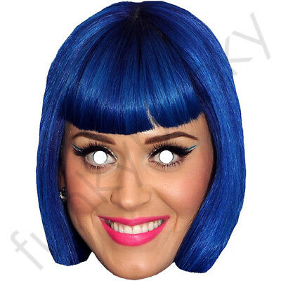Wild Katy Perry Celebrity Card Mask Singer Fun Stag Hen Parties Katie Blue Hair