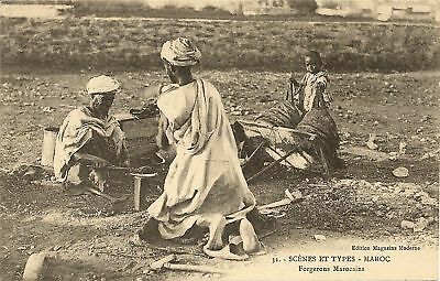 Cpa Maroc Scenes Et Types Forgerons Marocains