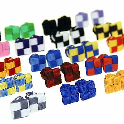Lot of 5 Pairs Cufflinks Cuff Links Silk Knot Wedding Party Shirt Square CSP3