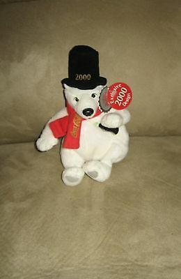 "6"" Coke Coca-Cola Top Hat Polar Bear Bean Plush w/Tag"
