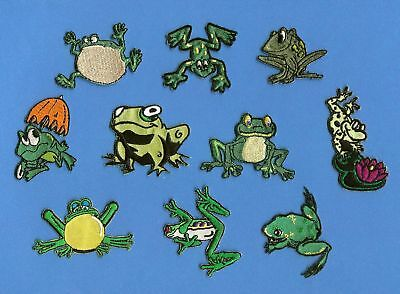 10 Lot Cartoon Frogs Embroidered Iron On Patches Crests