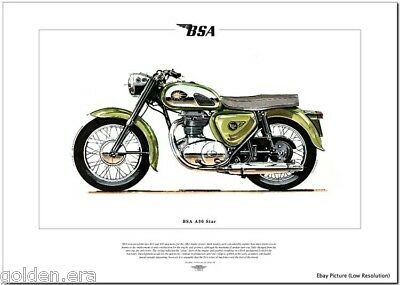 BSA A50 STAR - Motorcycle Fine Art Print - 1962 Twin