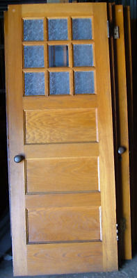 Antique Oak French Door w/ Windows School Panneled