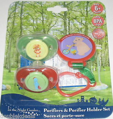 New In The Night Garden Pacifiers & Holder Set 3 Piece