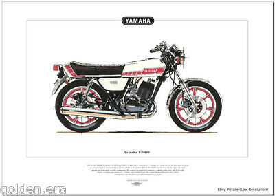 YAMAHA RD400 Motorcycle Fine Art Print - Seventies Twin