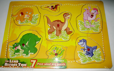 New The Land Before Time Wood Wooden Peg Puzzle