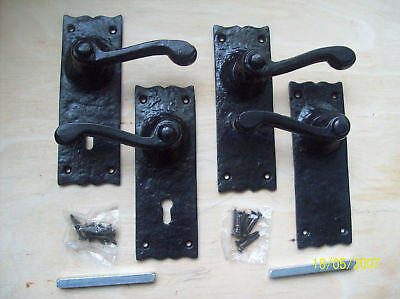 Pair Of Victorian Scroll Black Antique Iron Ornate Lever Latch Lock Door Handles
