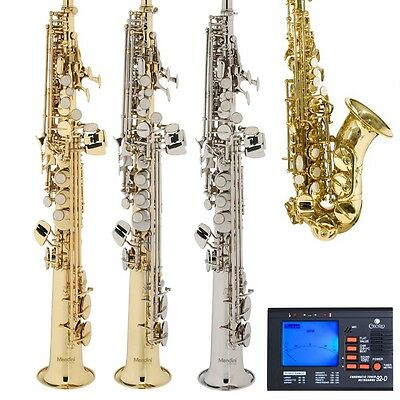 New Mendini Gold Silver Soprano Saxophone or Curved Sax