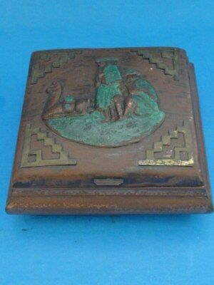 Middle Eastern Antique Wood & Copper Box *hand Crafted