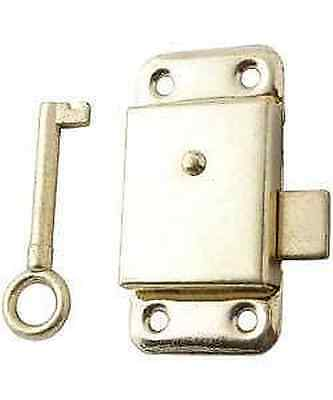 "Brass Wardrobe Cupboard Cabinet Door Lock 2.5"" +Screws"