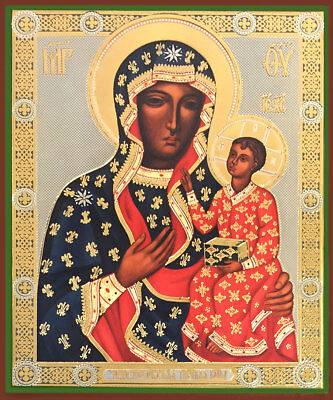 Our Lady of Czestochowa Russian Wood Icon Gold Silver