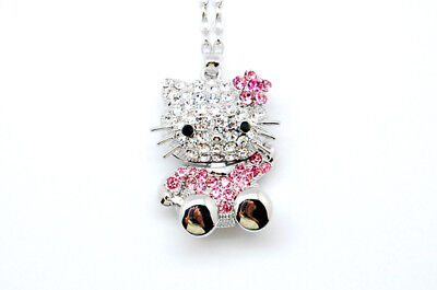 NEW!! HELLO KITTY BIG 3D BODY PINK FLOWER NECKLACE ~~!!