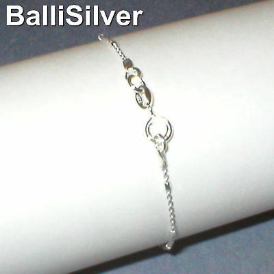 3 St. Silver 925 Fine Cable CHAIN with BEADS Bracelets