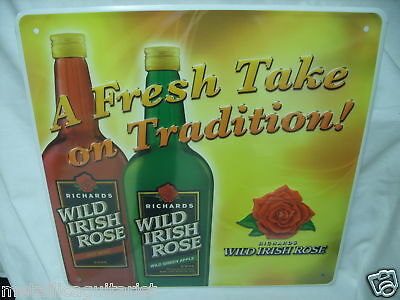 Richard's Wild Irish Rose Wine Liqueur Tin Tacker Sign