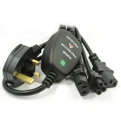 Power Cord UK Plug to 2 IEC Cable & Clover Leaf SURGE