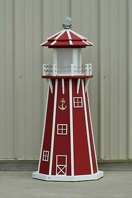 4' Octagon Electric and Solar Powered Poly Lighthouse, Red/white trim