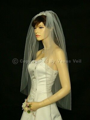 1T Ivory Wedding Bridal Fingertip Cut Edge Veil