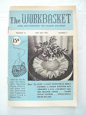 April 1951 Workbasket Knit Crochet Tat Pattern Magazine Doily Baby Soaker Doll