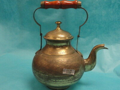 Large Antique Middle Eastern Brass Hand Hammered Teapot