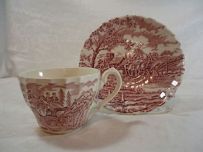 Alfred Meakin Coaching Days-Pink Cup and Saucer