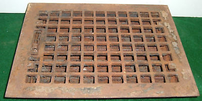 Vintage Heat Grate Cast Iron Grille Antique Louvred