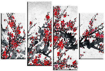 LARGE CHINESE CANVAS PICTURE RED BLOSSOM ON GREY WHITE FLORAL 4 PANEL 100cm wide