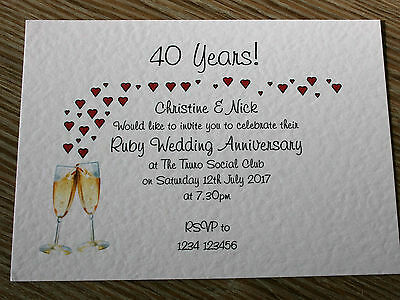 Personalised Ruby Wedding Anniversary Invitations **Envelopes Supplied**