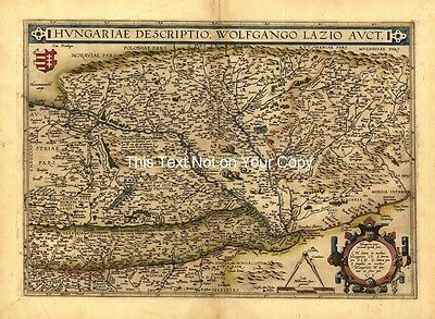 Large A1 Old Abraham Ortelius Hungary Bulgaria East Transylvania New Antique Map