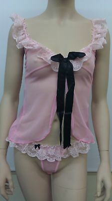 Leg Avenue 81300 Mesh Babydoll With Ribbon Tie & Thong