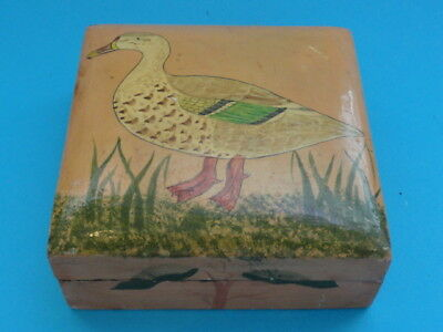 Indian Hand Painted Wood Trinket Box Antique