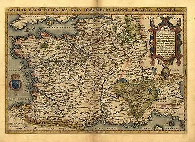Large A1 Abraham Ortelius Gaul, France, Reproduction Vintage Old Antique Map NEW
