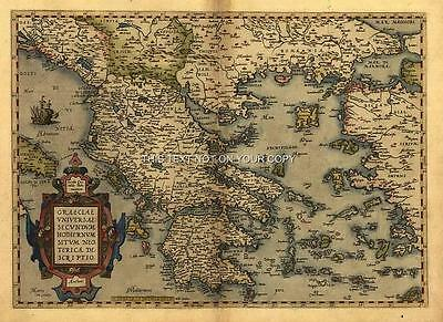 Large A1 Size Ortelius Graecia Greece Greek Islands Turkey Old Antique Map NEW