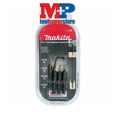 "Makita P-51954 Quick Change Drill & Countersink Bit Set 1/4"" Hex"
