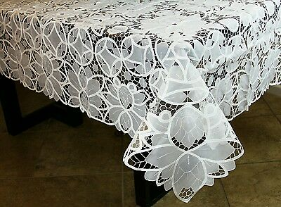 "White Embroidery Tablecloth 72x90"" 8 napkins Wedding Bridal Shower Event Banquet"