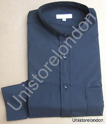 Shirt Grandad collar Black with pocket Long Sleeve R662