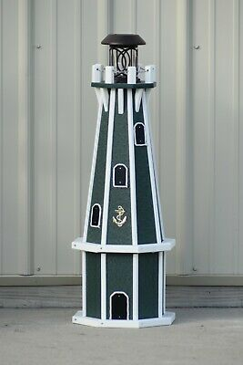 """32"""" Octagon, Solar Powered Poly Lighthouse,Green/White Decorative Lighthouses"""