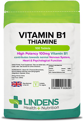 Vitamin B1 (Thiamin) Tablets - mosquito repellent, energy (100 pack) [2629]