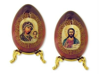 Madonna & Child wood icon egg eggs SET Mary Christ gold egg stand Russian !