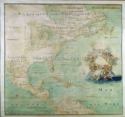 Reproduction Old Antique Vintage Color Map of America Plan 1680 by Claud Bernou