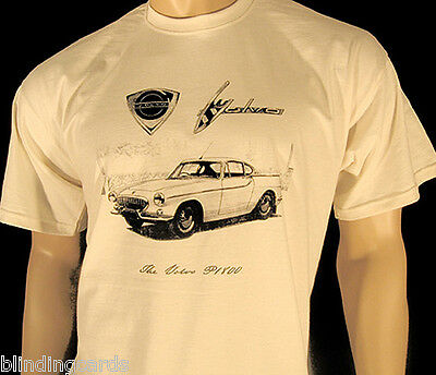 VOLVO P1800 T-SHIRT - 'The Saint' TV series car - 5 sizes in Natural or Ash Grey