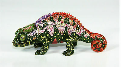 "Jay Strongwater Chameleon Swarovski Crystals Pink Belly 6"" Long New $795 Usa"
