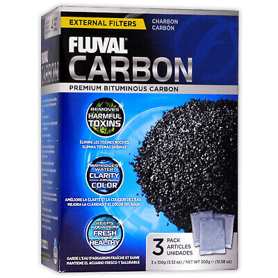 FLUVAL CARBON 300g EXTRANL FILTER MEDIA AQUARIUM FISH TANK ACTIVATED 3x 100g BAG