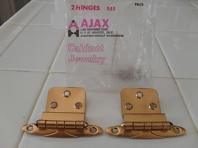 "Vtg NOS Art Deco Ajax Copper Plated Hinges 3/8"" inset"