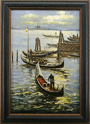 Venice City Canal Gondola Boat River People Dock Harbor Art FRAMED OIL PAINTING
