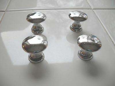 4 VINTAGE 1950's Small CHROME KNOBS with Ring Bases