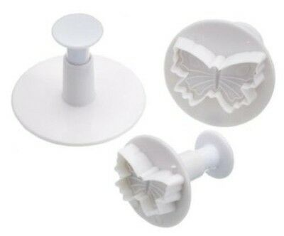 Butterfly Veined Plunger Cutters X 3 Cake Decorating Tools Fondant Sugar Craft