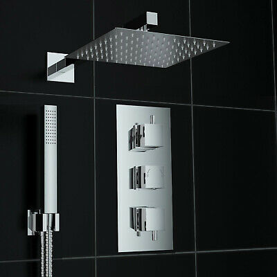 Bathroom Concealed Thermostatic Square Shower Mixer Valve Set Brass Chromed