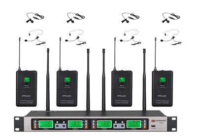GTD Audio 4x100 Ch UHF Wireless Lapel lalavlier Microphone Mic System B-33L