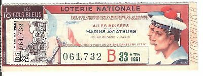 Loterie Nationale - Ailes Brisees Marins Aviateurs 1951